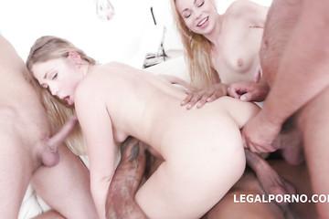 Жесткий ганг банг с двумя блондинками